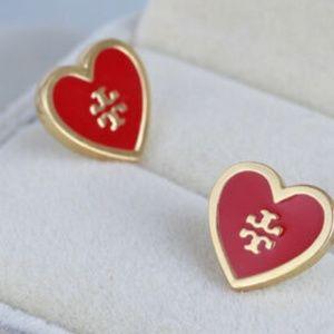 Tory Burch Earrings Red Heart Studs New